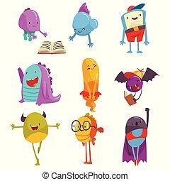 mignon, coloré, rigolote, ensemble, étrangers, amical, illustration, dessin animé, vecteur, caractères, bizarre, monstres