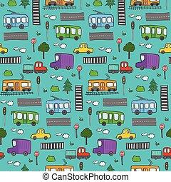 mignon, coloré, ville, modèle, dessin animé, transport