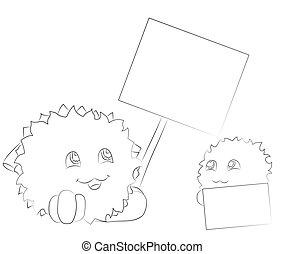 mignon, coloration, affiche, deux, monstres, regarder, livre, dessin animé