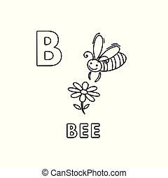 mignon, coloration, animaux, abeille, vecteur, alphabet., dessin animé, pages