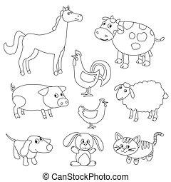 mignon, coloration, animaux, contour, ferme, book., dessin animé, vecteur, noir, stroke., version, blanc, réglable, oiseaux