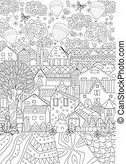 mignon, coloration, bo, ciel, air, chaud, cityscape, ballons, ton