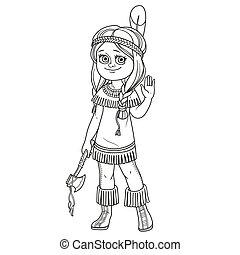mignon, coloration, esquissé, costume indien, girl, page