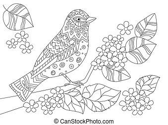 mignon, coloration, fleur, oiseau, livre, branche, ton