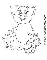 mignon, coloration, illustration, cochon, eau, vecteur, flaque, livre