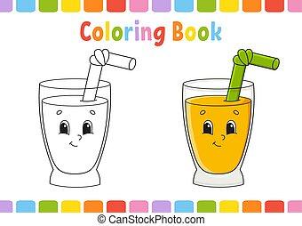 mignon, coloration, illustration., livre, arrière-plan., ...