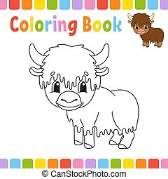 mignon, coloration, illustration., livre, arrière-plan., character., isolé, contour, gai, fantasme, vecteur, noir, kids., children., blanc, silhouette., style., dessin animé, page