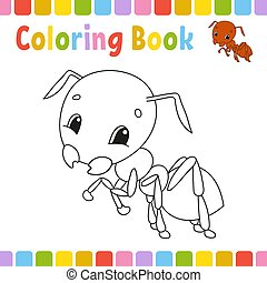 mignon, coloration, illustration., pages, livre, vecteur, dessin animé, kids.