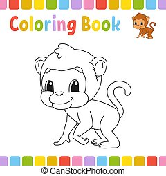 mignon, coloration, illustration., pages, livre, vecteur, dessin animé, kids.
