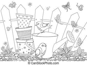 mignon, coloration, jardinage, oiseaux, rustique, équipement, livre, ton, paysage
