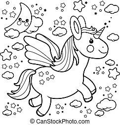 mignon, coloration, licorne, sky., voler, vecteur, noir, nuit, page blanc