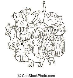 mignon, coloration, modèle, forme, chats, cercle, livre