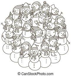 mignon, coloration, modèle, forme, livre, cercle, snowmen
