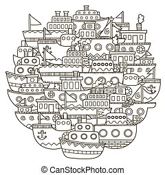 mignon, coloration, modèle, forme, livre, griffonnage, bateaux, cercle
