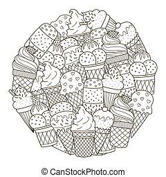 mignon, coloration, modèle, glace, forme, livre, cercle, crèmes