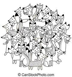 mignon, coloration, modèle, renards, forme, livre, cercle