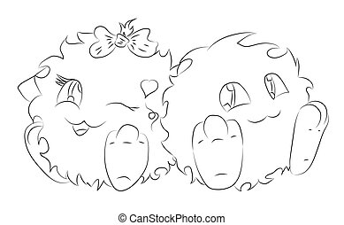 mignon, coloration, monstre, deux, livre, dessin animé