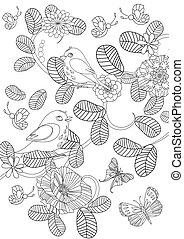 mignon, coloration, nature, modèle, oiseaux, agréable, ton, page