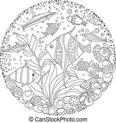 mignon, coloration, ornement, livre, poissons, cercle, marin, ton