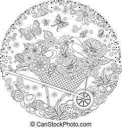 mignon, coloration, ornement, oiseaux, livre, floral, cercle, ton