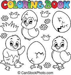 mignon, coloration, poulets, livre