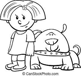 mignon, coloration, rigolote, chien, livre, girl, dessin animé