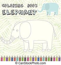 mignon, coloration, silhouette, livre, éléphant, dessin animé