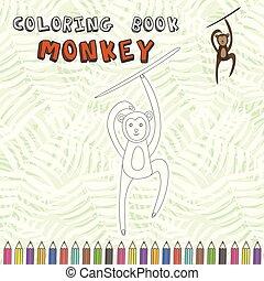 mignon, coloration, silhouette, singe, livre, dessin animé