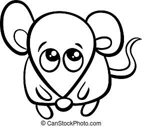mignon, coloration, souris, dessin animé, livre