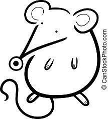 mignon, coloration, souris, livre, dessin animé