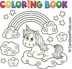 mignon, coloration, topic, 1, licorne, livre