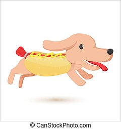 mignon, comique, hot-dog, style, dessin animé