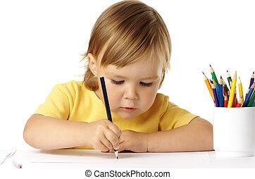 mignon, concentré, dessin, elle, preschooler