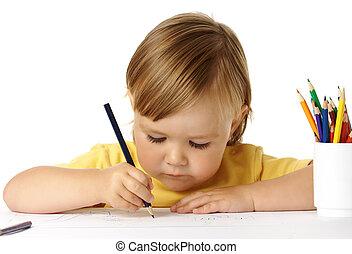 mignon, concentré, dessin, enfant