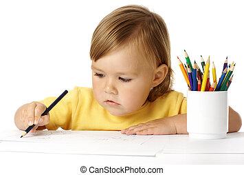 mignon, concentré, dessin, preschooler
