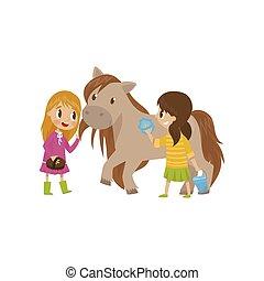 mignon, concept, équestre, ils, prendre, filles, illustration, dessin animé, vecteur, fond, blanc, sport, litlle, soin, cheval