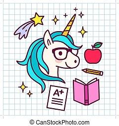 mignon, concept, themed, a-plus, papier, tir, accomplissement, autour de, rêves, icônes, pomme, arrière-plan., manuel, essai, crayon, result., grille, licorne, dessin animé, école, magie, reussite, étoiles, lunettes