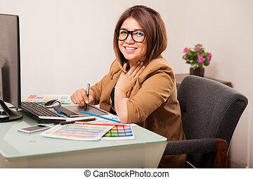 mignon, concepteur, femme, bureau
