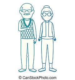mignon, couple, avatars, caractères, grands-parents