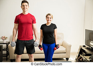 mignon, couple, exercisme, ensemble