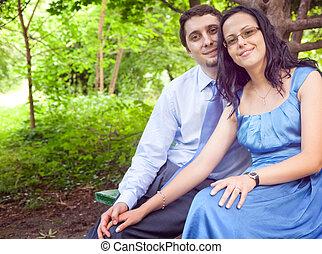 mignon, couple, extérieur, romantique, portrait