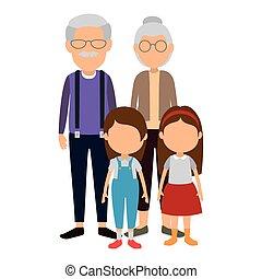 mignon, couple, gosses, caractères, grands-parents