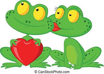 mignon, couple, grenouille, re, tenue, dessin animé