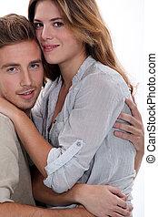 mignon, couple, hugging.