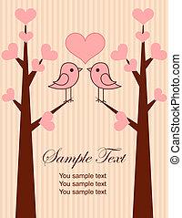 mignon, couple, oiseaux