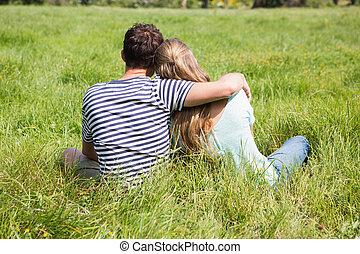 mignon, couple, parc