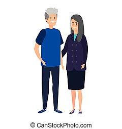 mignon, couple, parents, caractères, grandiose