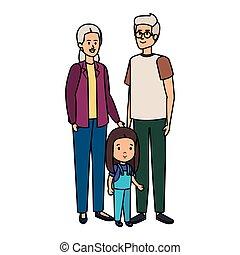 mignon, couple, parents, grandaughter, grandiose