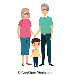 mignon, couple, parents, petit-fils, grandiose