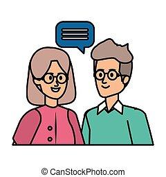 mignon, couple, parole, grands parents, bulle